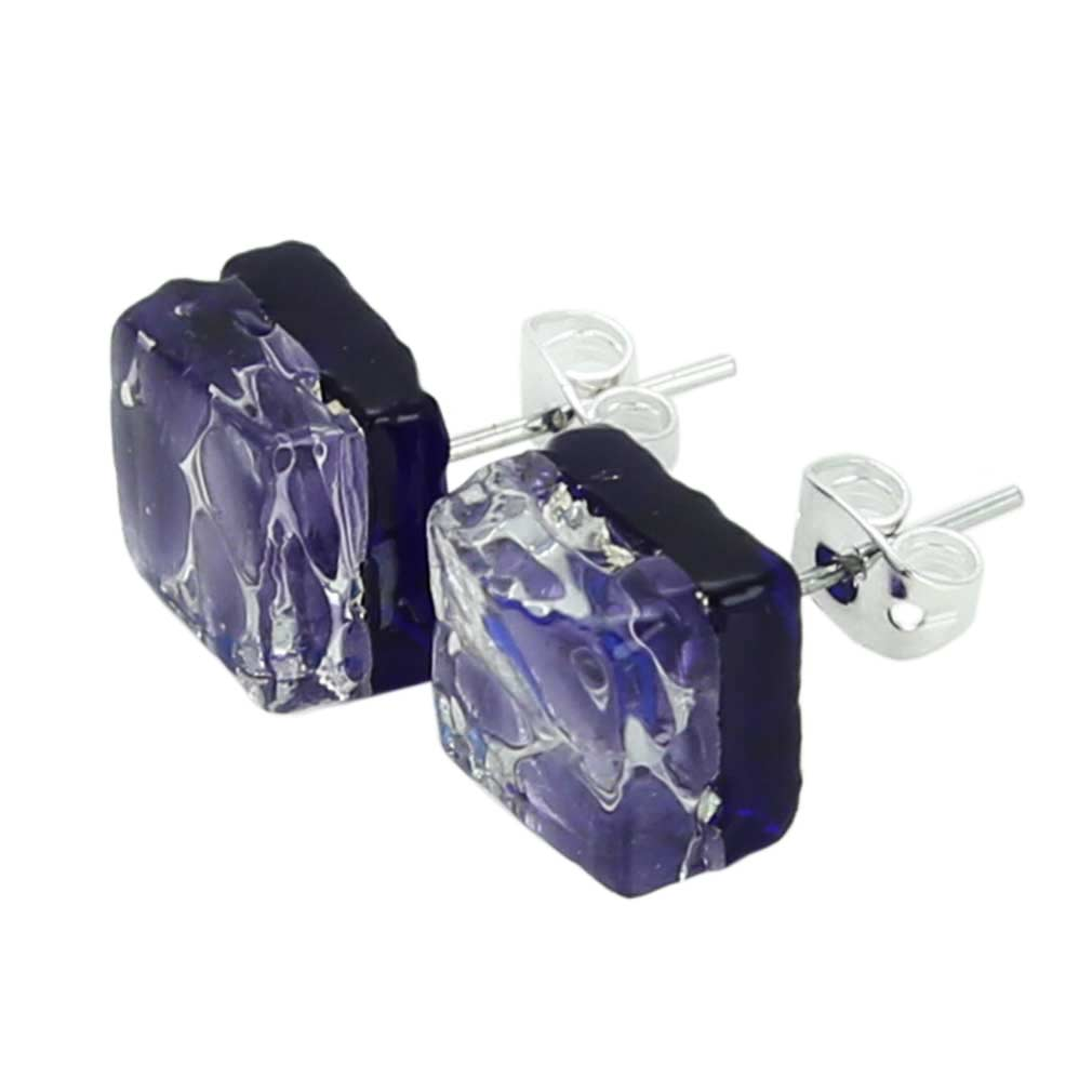 Venetian Reflections Square Stud Earrings - Periwinkle