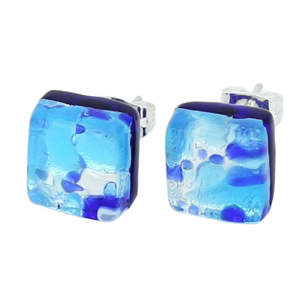 Venetian Reflections Square Stud Earrings - Aqua Blue