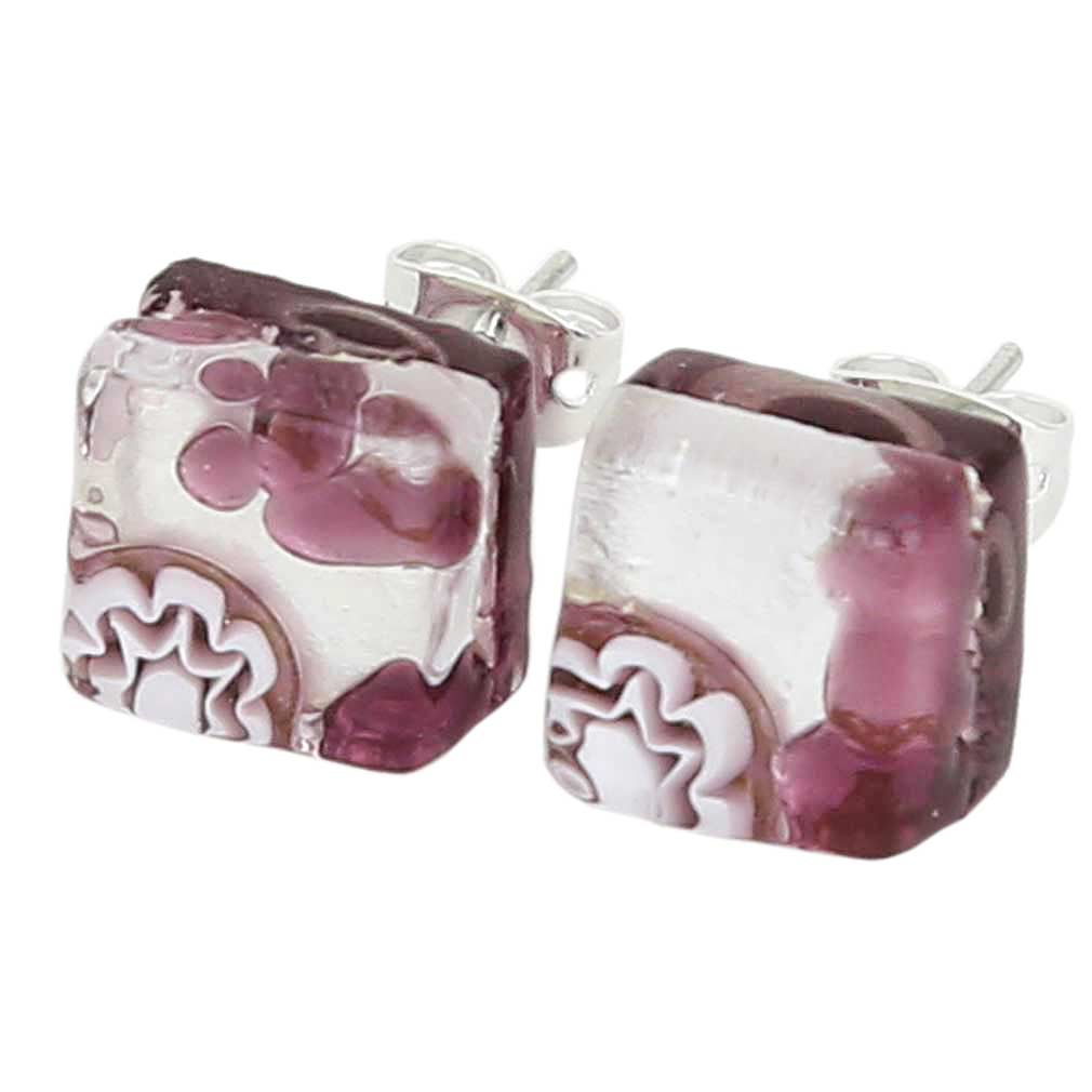 Venetian Reflections Square Stud Earrings - Purple Silver