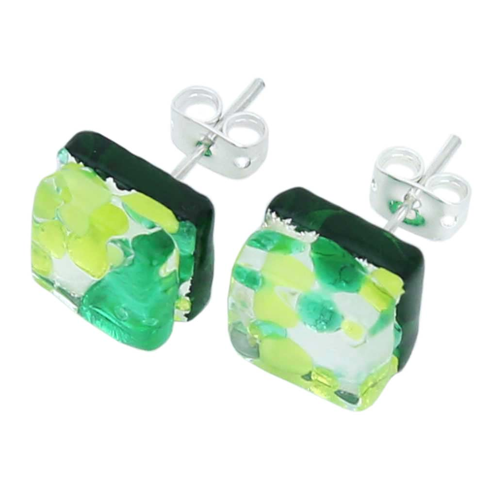 Venetian Reflections Square Stud Earrings - Green Silver