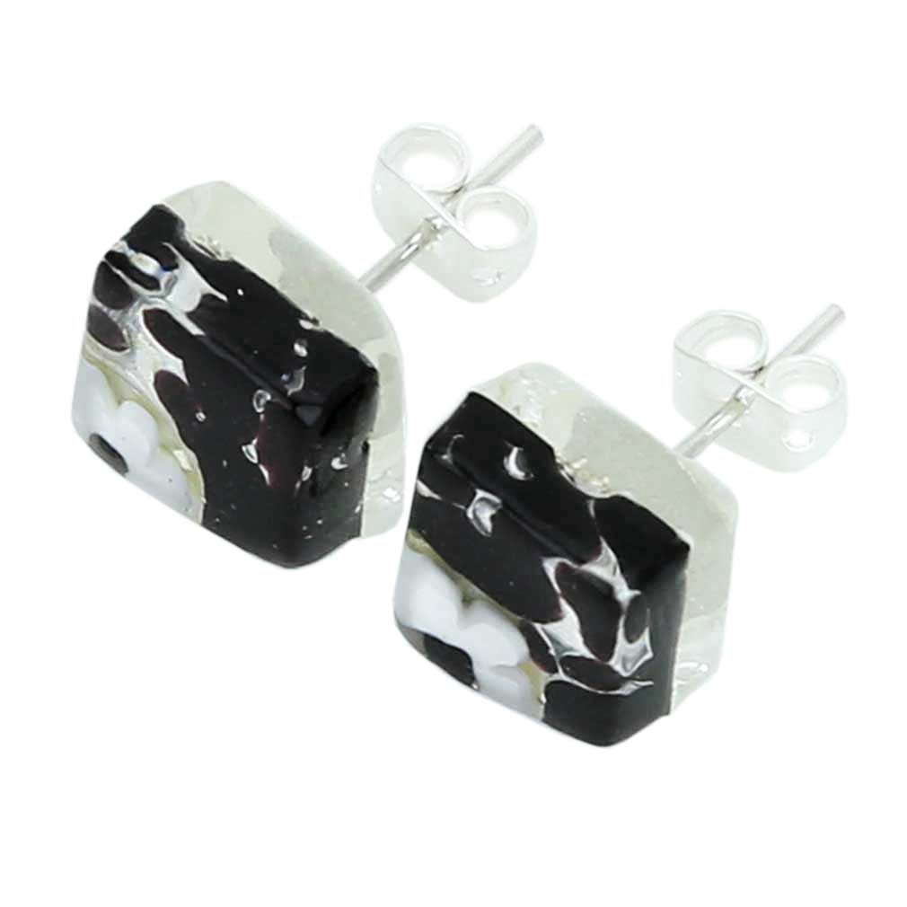 Venetian Reflections Square Stud Earrings - Dark Purple Silver