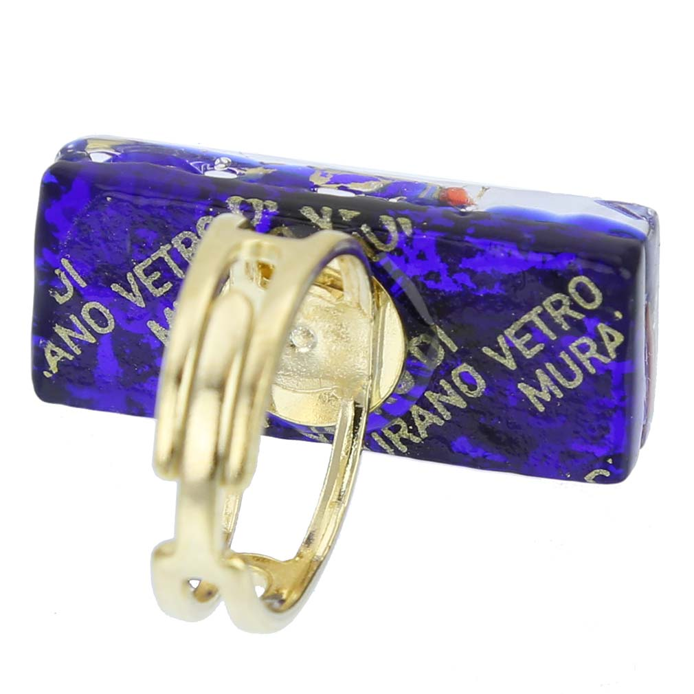 Venetian Reflections Rectangular Ring - Blue Red