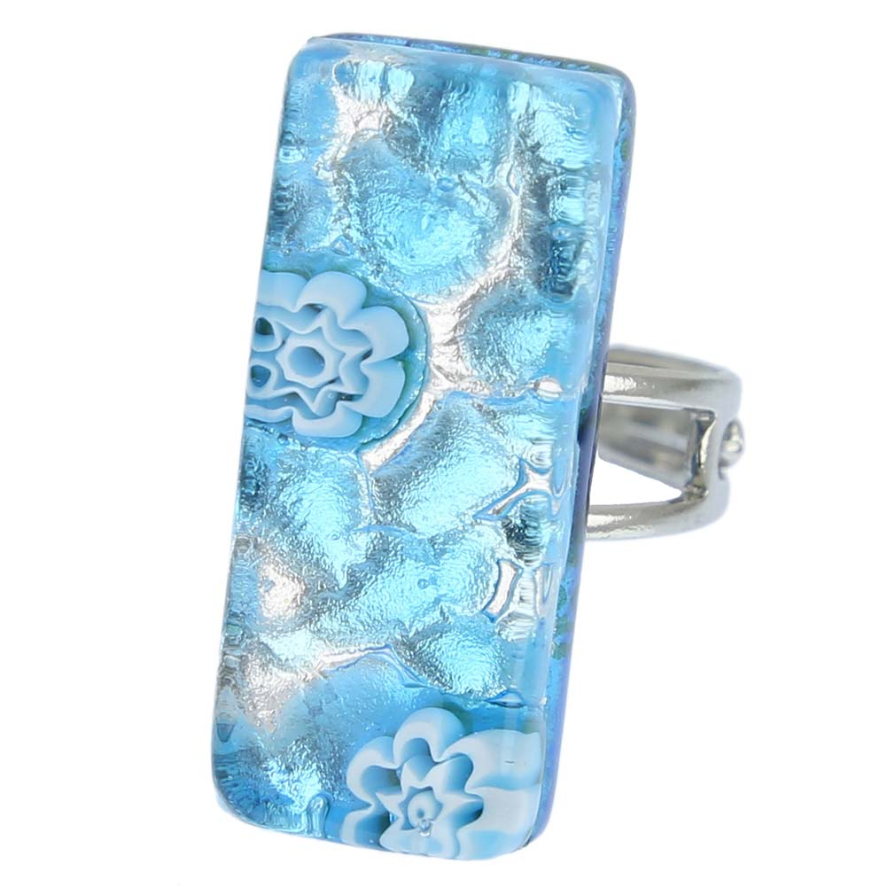 murano rings venetian reflections rectangular adjustable