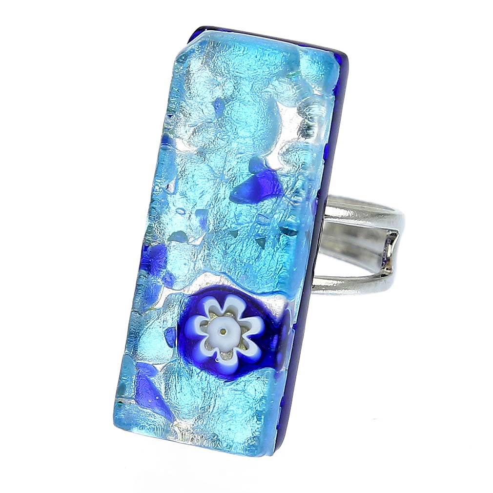 Venetian Reflections Rectangular Ring - Aqua Blue