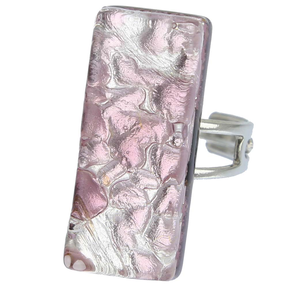 Venetian Reflections Rectangular Ring - Purple Silver