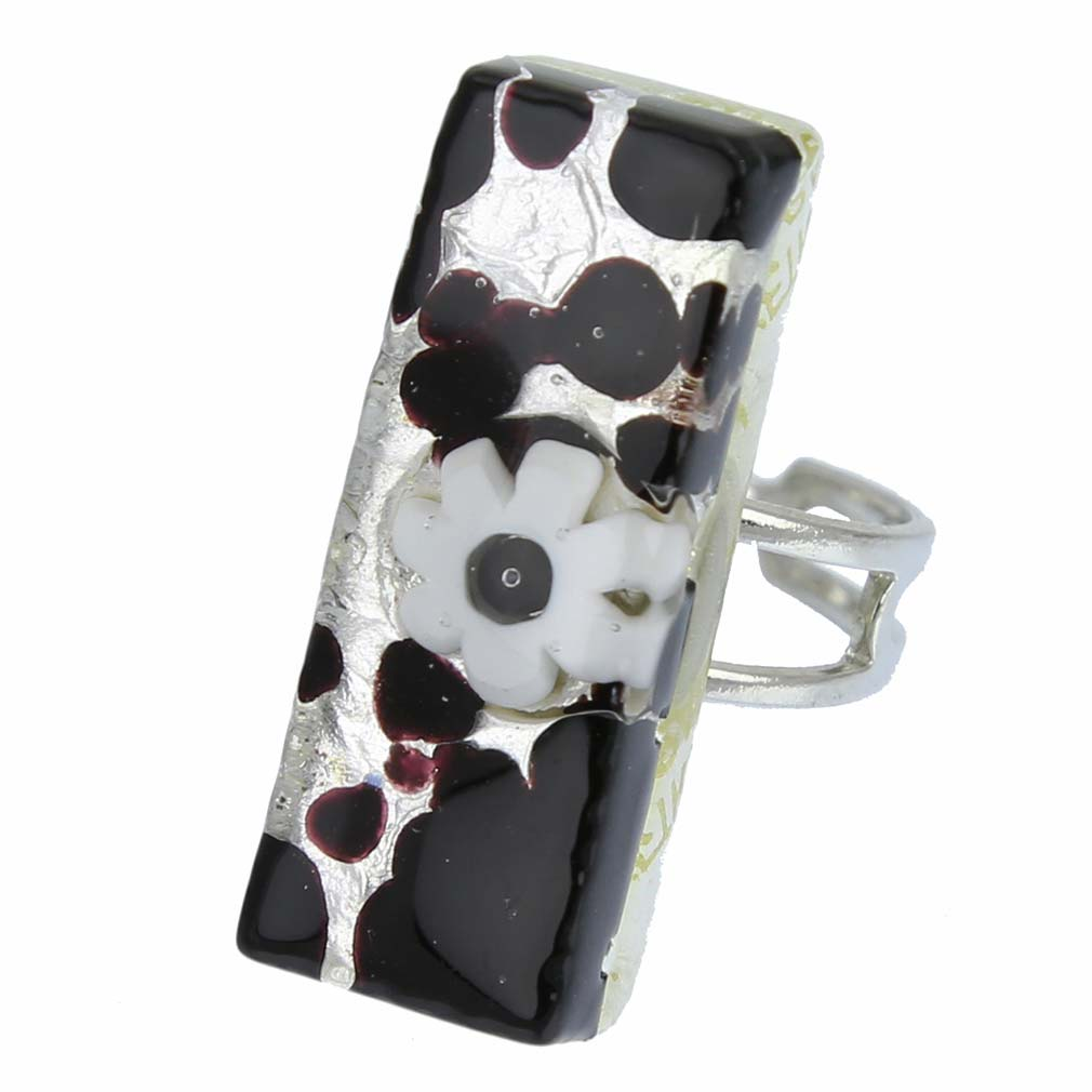 Venetian Reflections Rectangular Ring - Dark Purple Silver