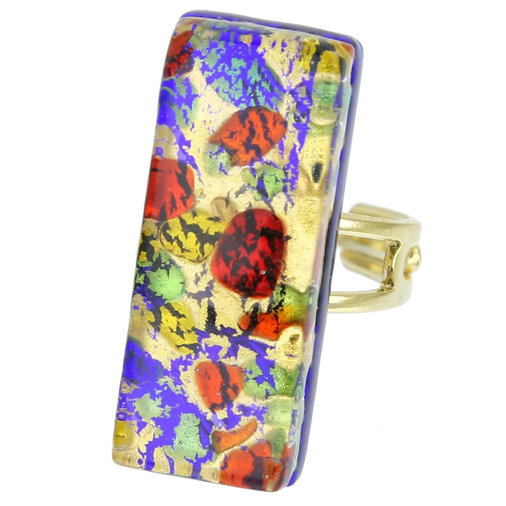 Venetian Reflections Rectangular Ring - Golden Meadow
