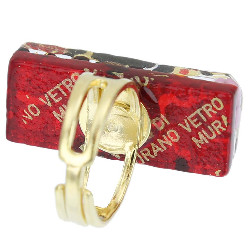 Venetian Reflections Rectangular Ring - Gold Millefiori