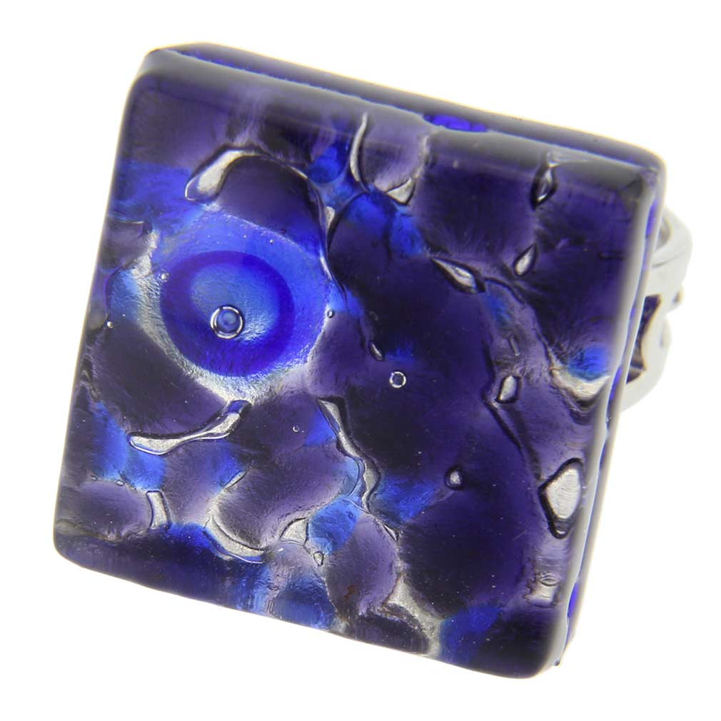 Venetian Reflections Square Adjustable Ring - Periwinkle