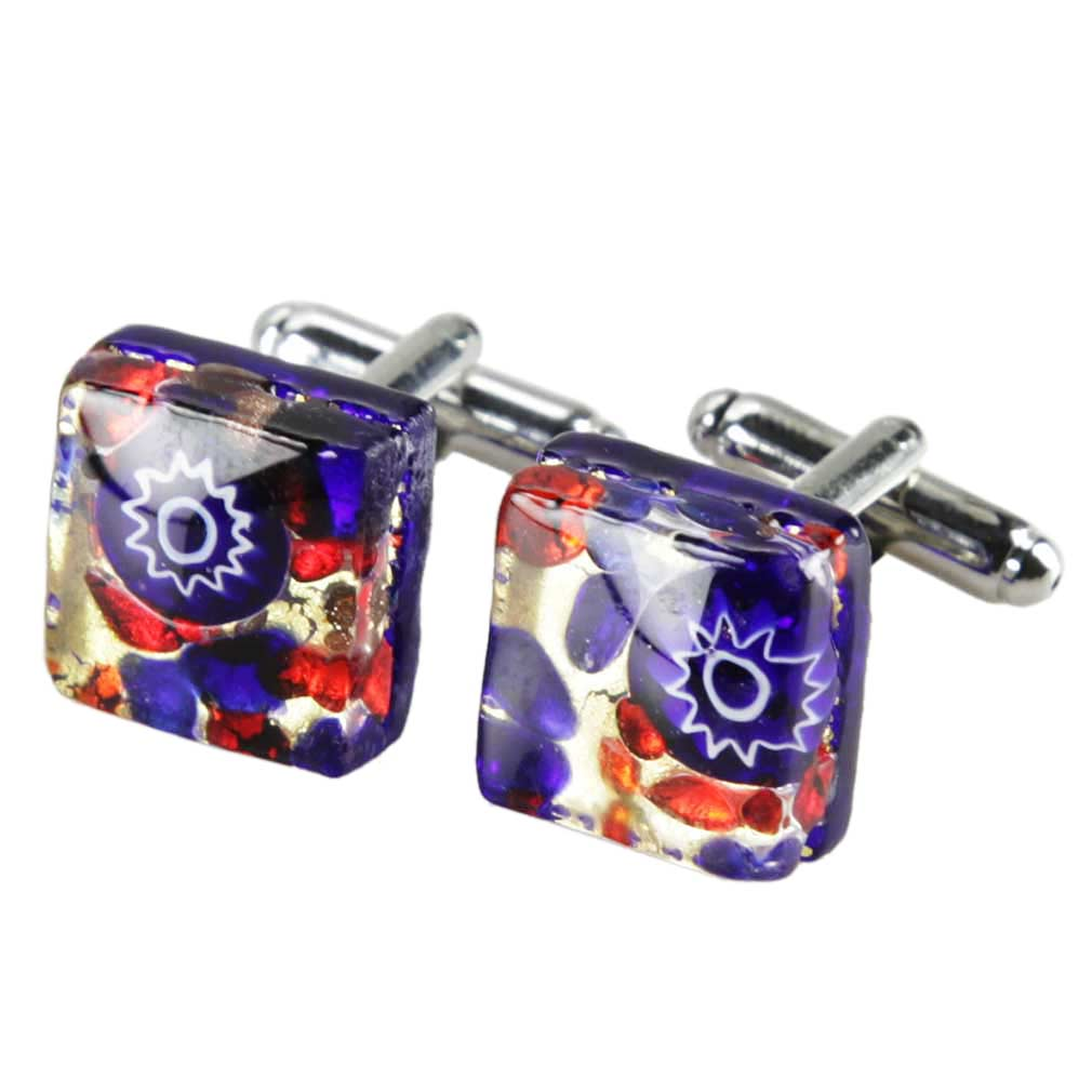 Venetian Classic Square Cufflinks - Blue Red