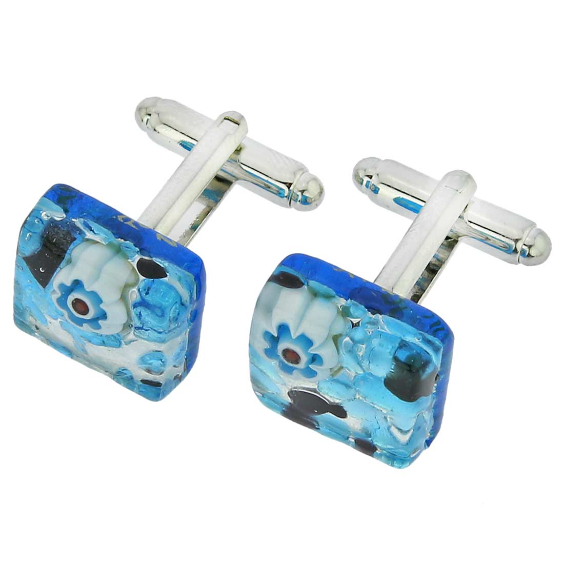 Venetian Classic Square Cufflinks - Aqua Purple