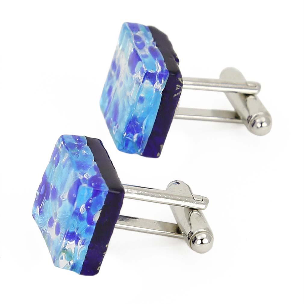 Venetian Classic Square Cufflinks - Aqua Blue