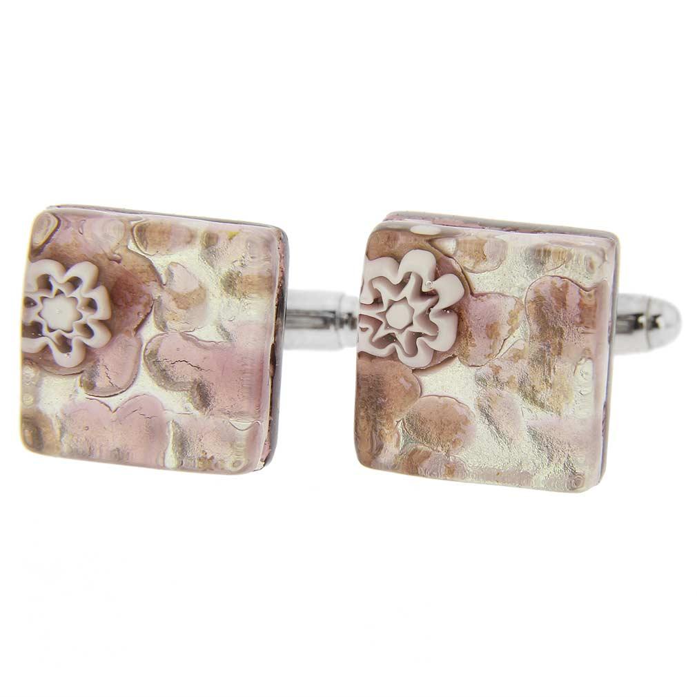 Venetian Classic Square Cufflinks - Purple Silver