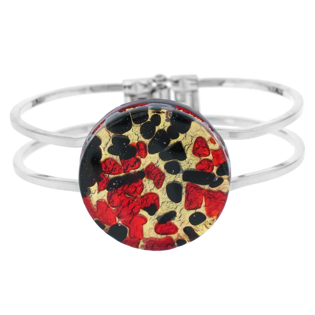 Venetian Reflections Metal Bracelet - Black Red