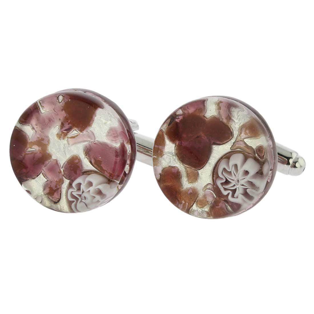 Venetian Classic Cufflinks Round - Purple Silver