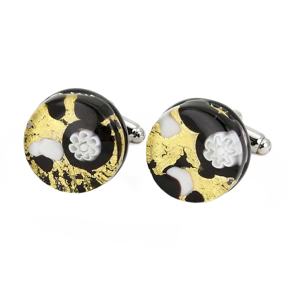 Venetian Classic Round Cufflinks - Black Gold