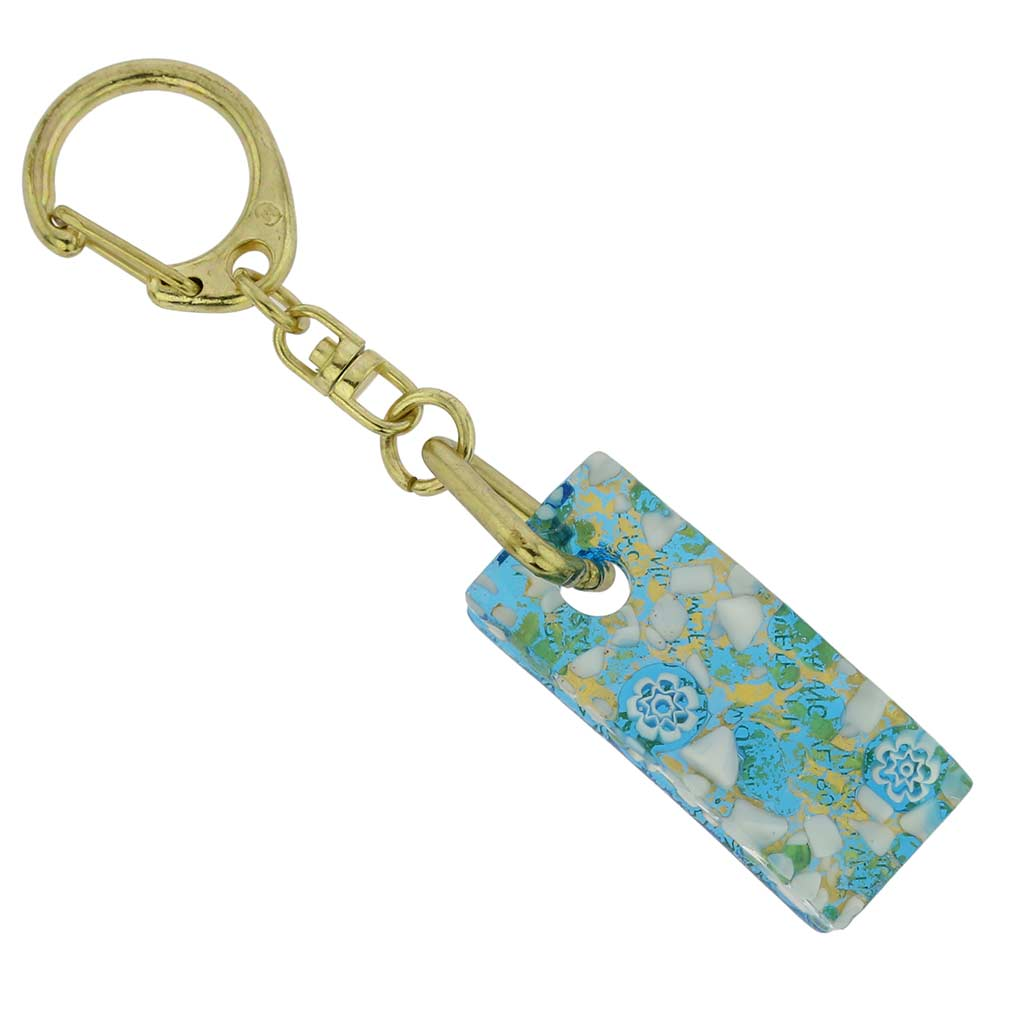 Murano Colors Stick Keychain - Aqua Gold