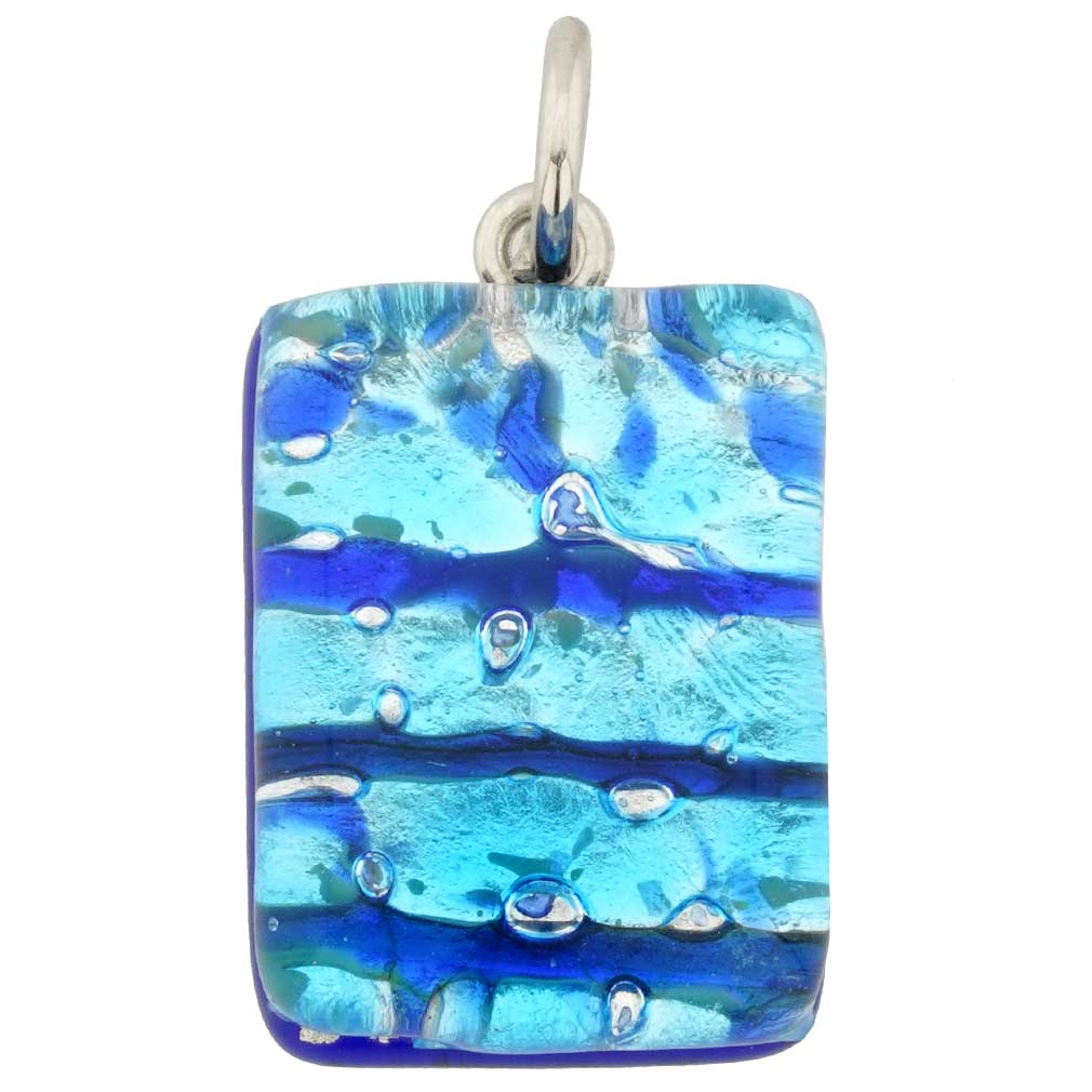 Venetian Reflections Rectangular Pendant - Aqua Blue