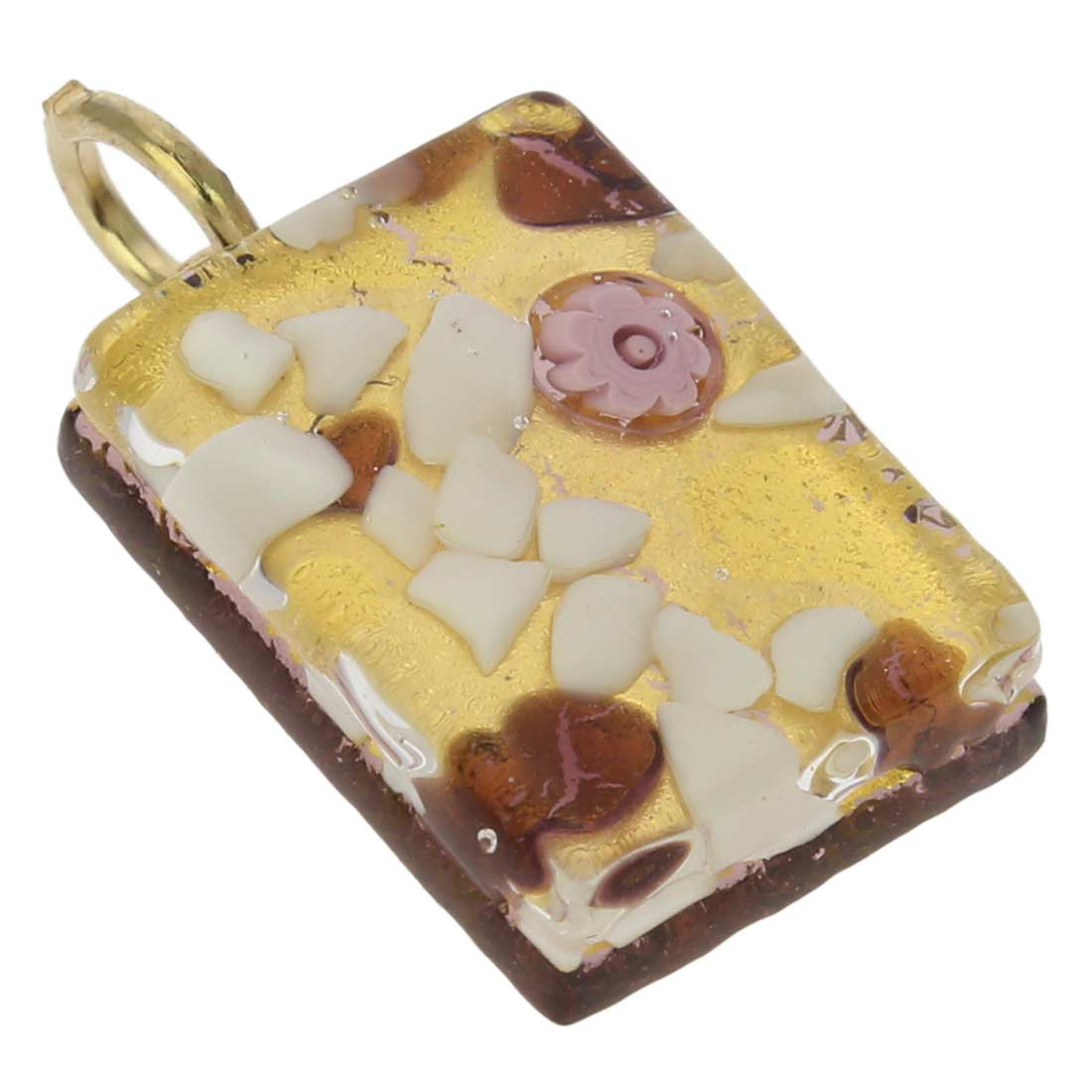 Venetian Reflections Rectangular Pendant - Purple Gold
