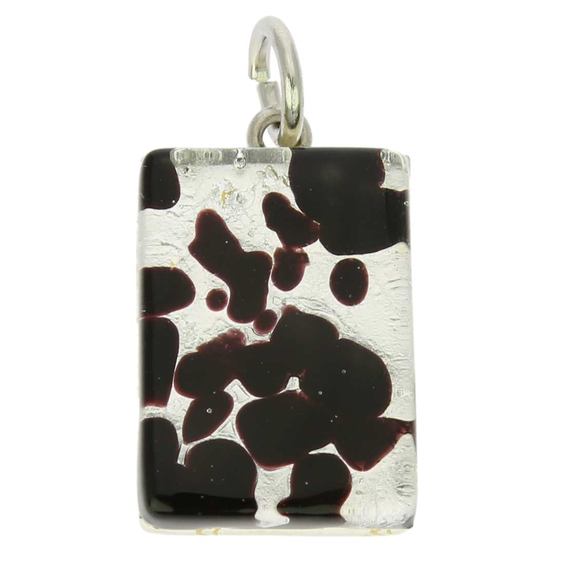 Venetian Reflections Rectangular Pendant - Dark Purple Silver