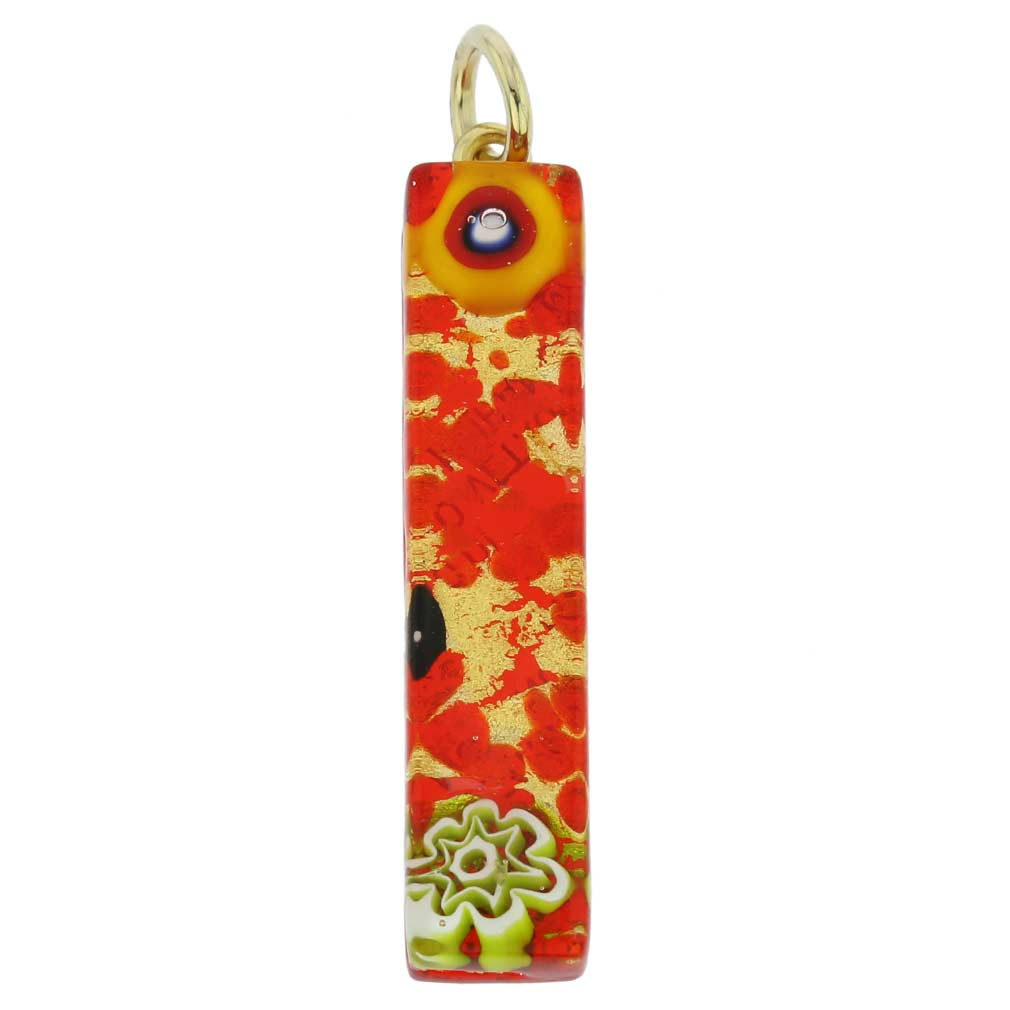 Venetian Reflections Stick Pendant - Red Gold