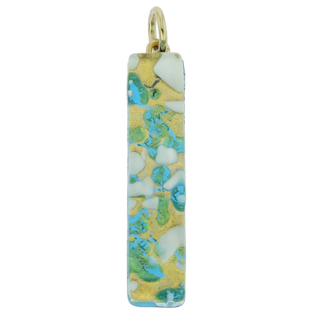 Venetian Reflections Stick Pendant - Aqua Gold