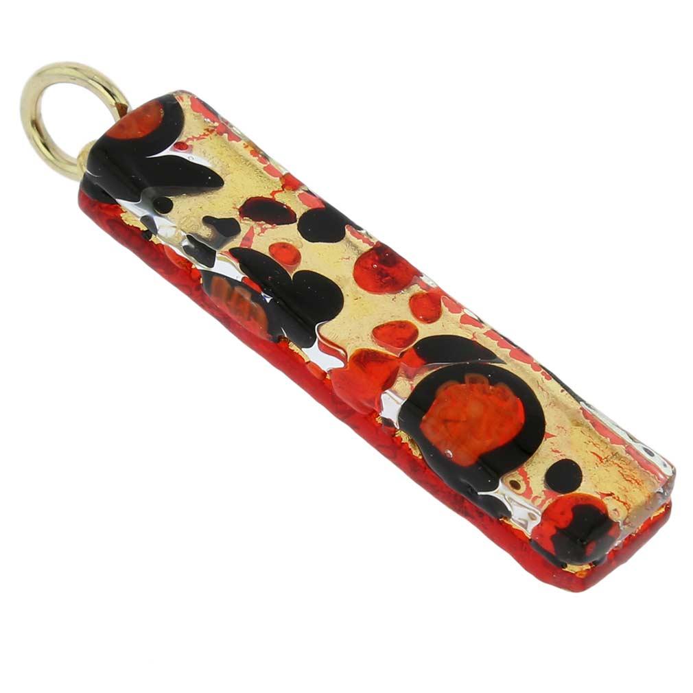 Venetian Reflections Stick Pendant - Black Red
