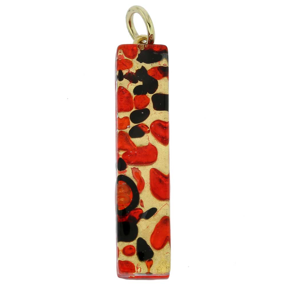 Venetian Reflections Stick Pendant - Black Red