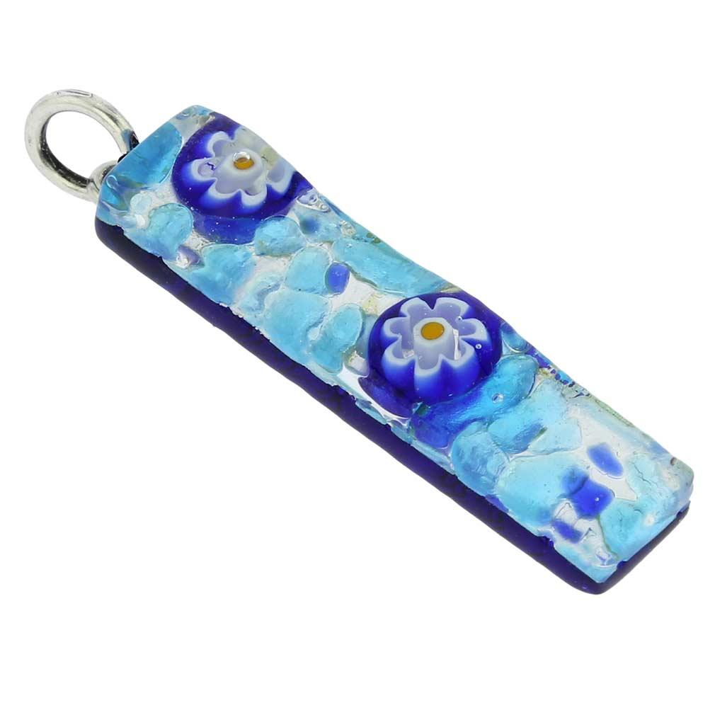Venetian Reflections Stick Pendant - Aqua Blue