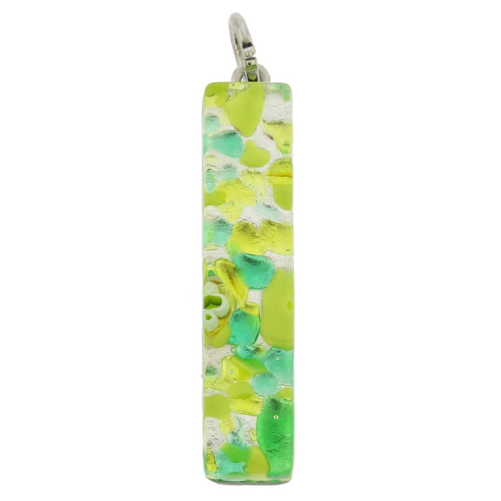 Venetian Reflections Stick Pendant - Green Silver