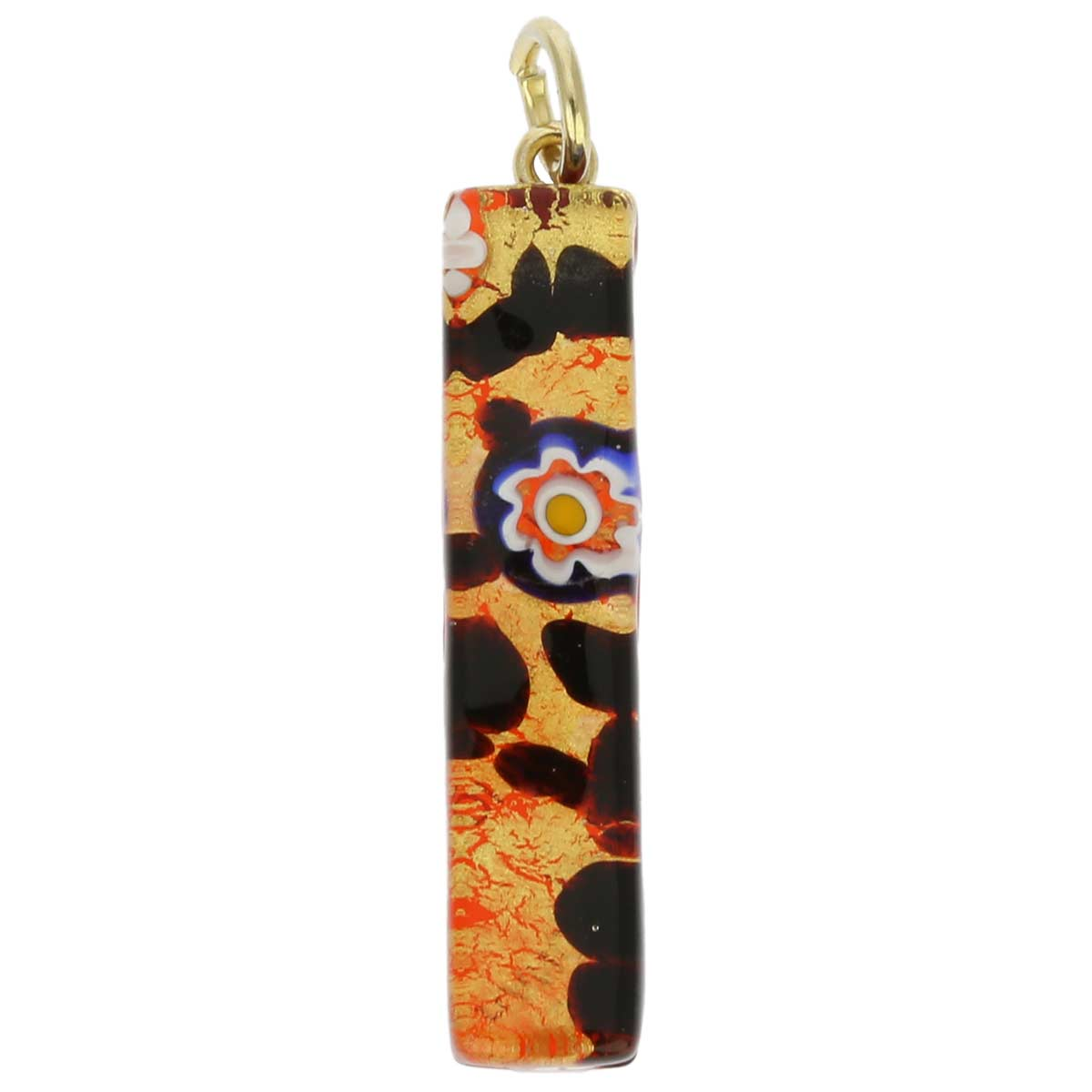 Venetian Reflections Stick Pendant - Gold Millefiori