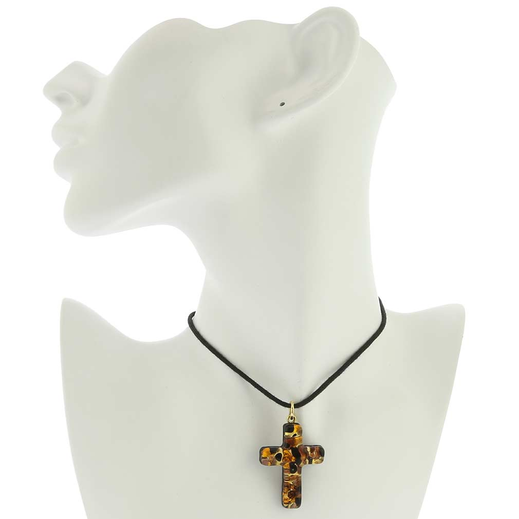 Venetian Reflections Cross Pendant - Topaz Gold