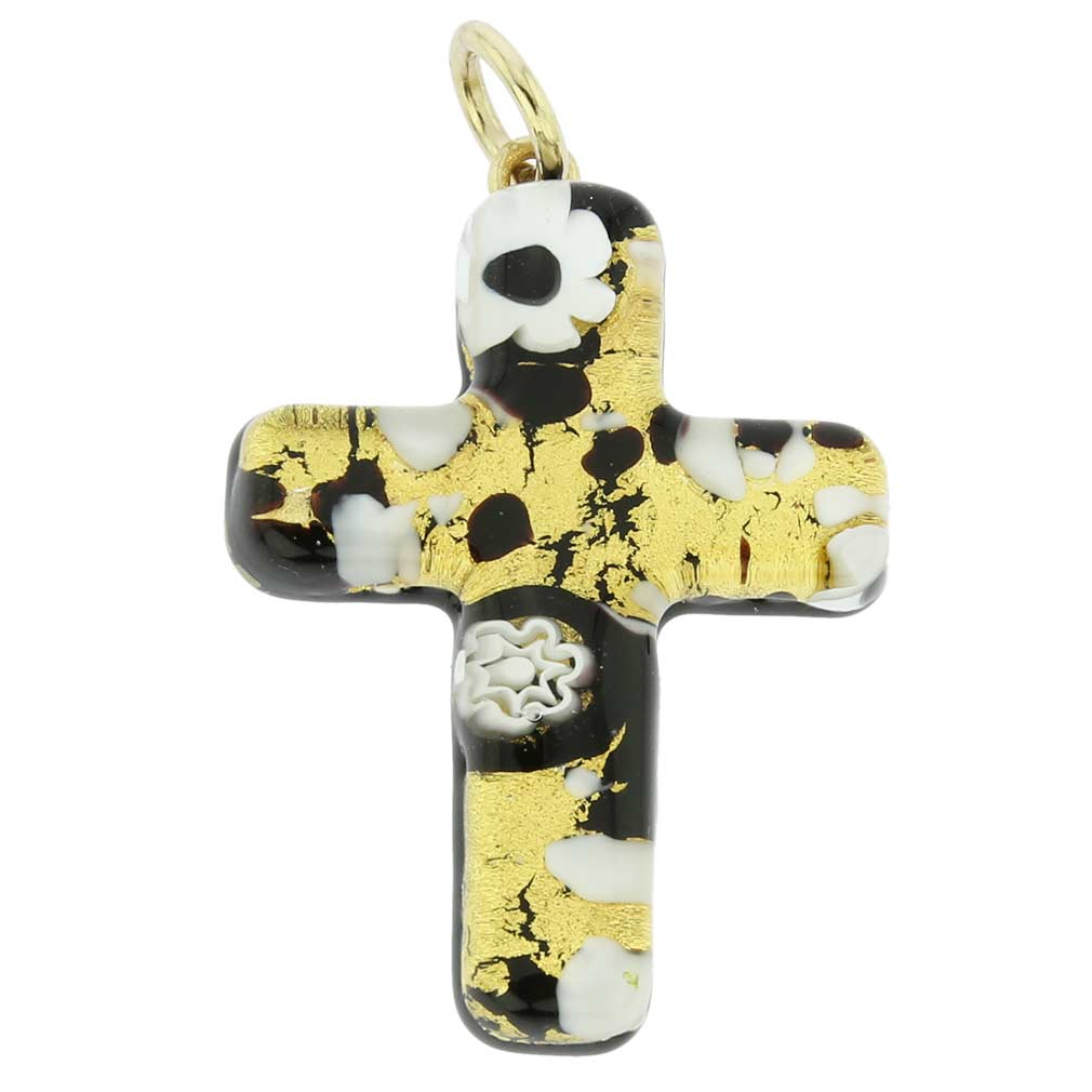 Venetian Reflections Cross Pendant - Black Gold
