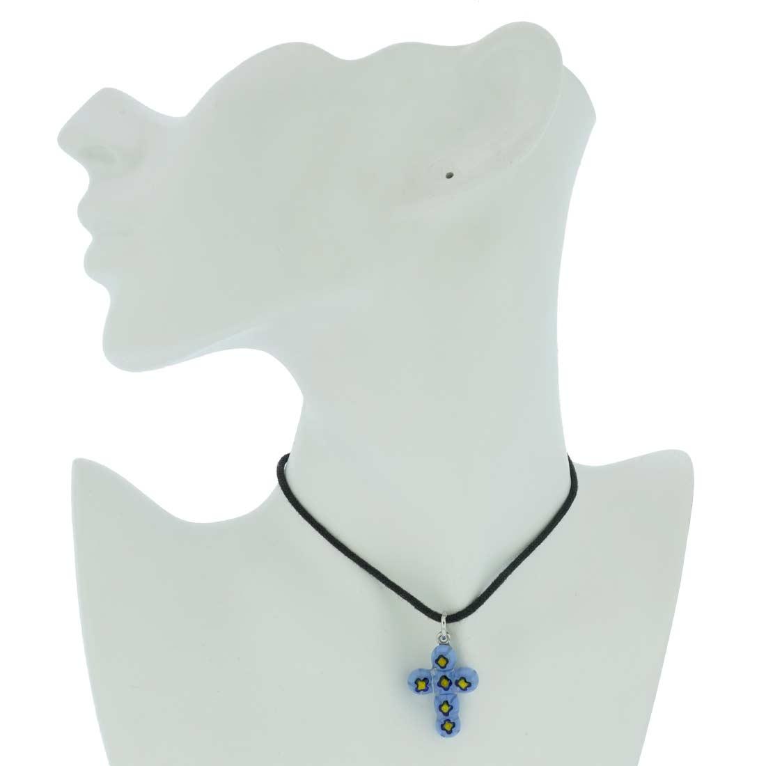 Millefiori Mosaic Cross Pendant #2
