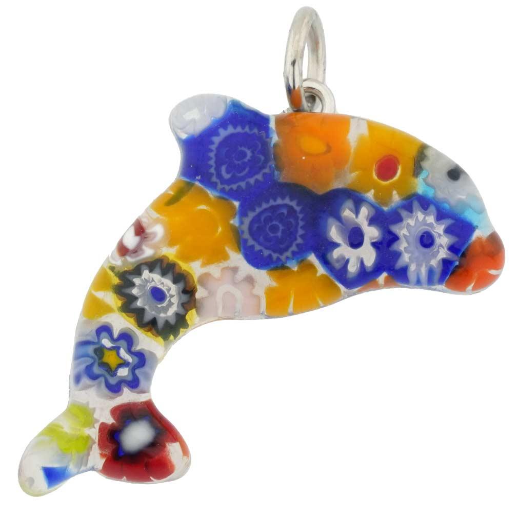 Murano Glass Millefiori Dolphin Pendant - Multicolor