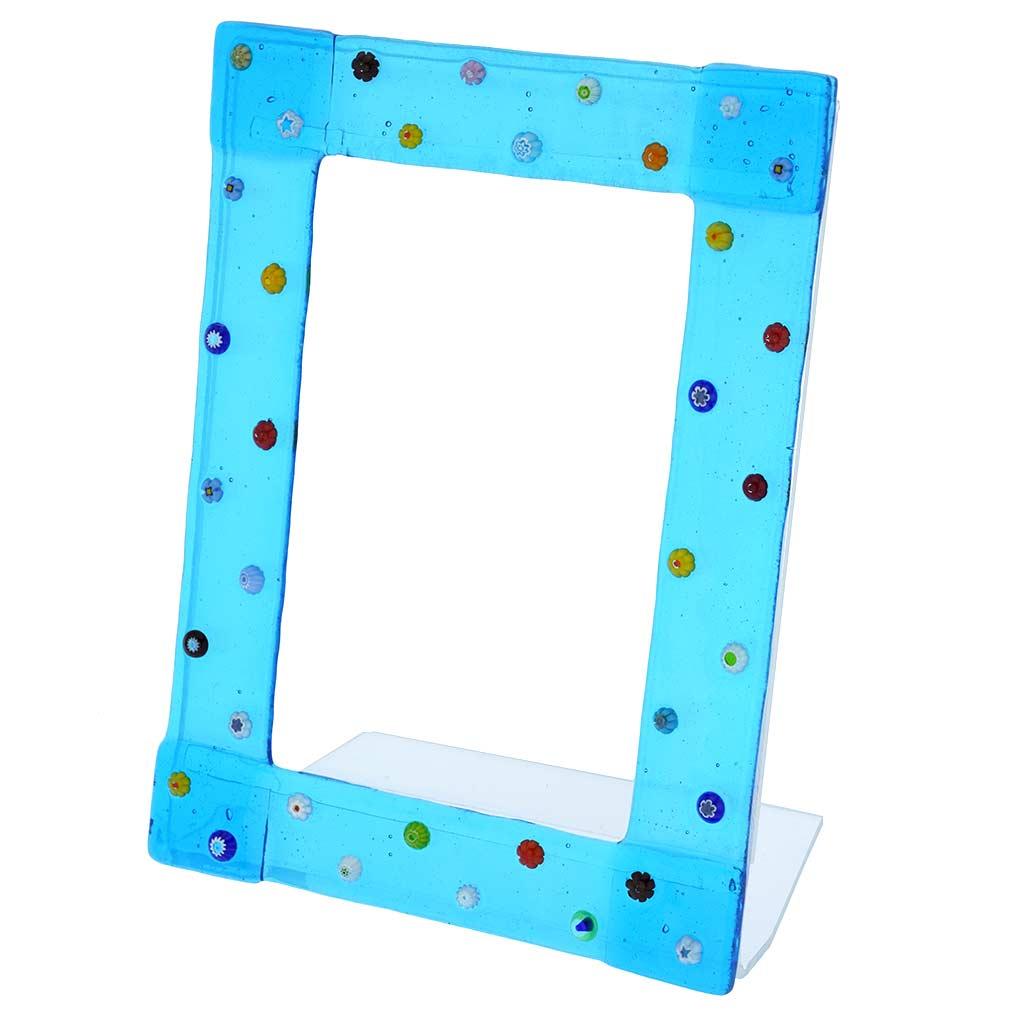 Murano Mosaic Photo Frame Aqua Blue 4X6 Inch