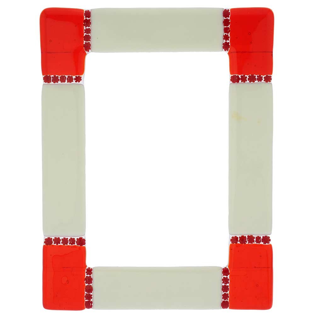 Murano Glass Photo Frame Ducale Red-White 4X6 Inch