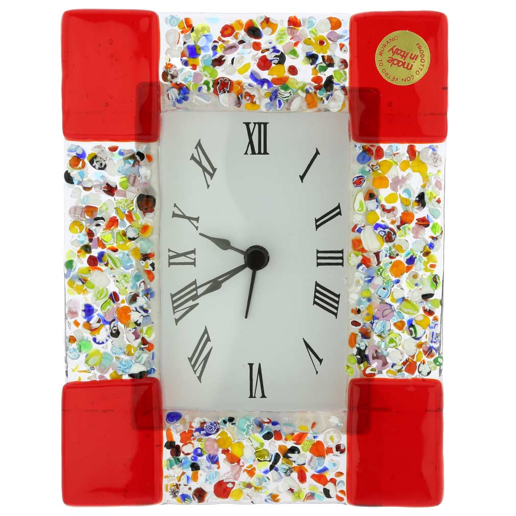 Venetian Glass Alarm Clock Klimt - Red