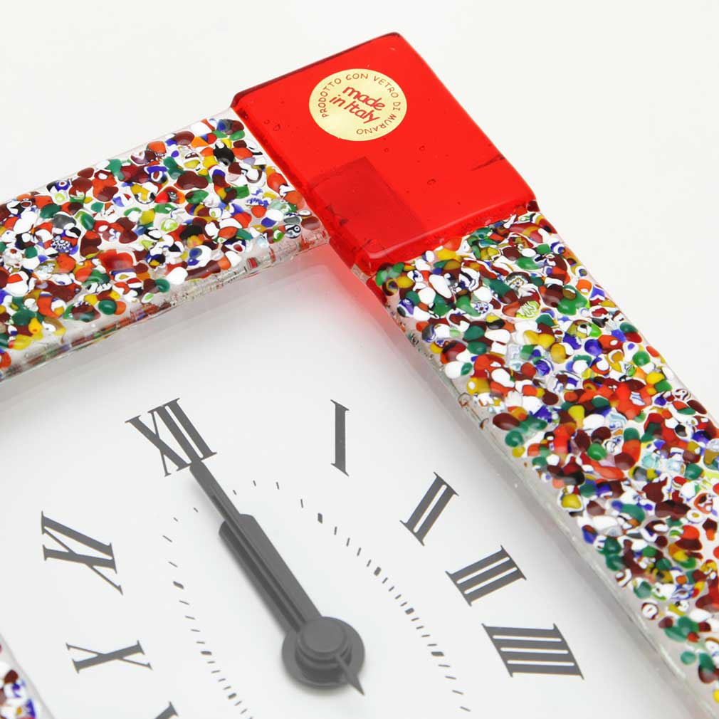 Murano Glass Wall Clock - Klimt Red