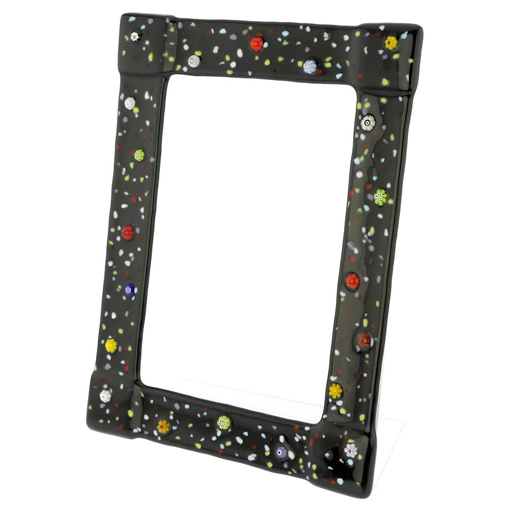 Murano Glass Photo Frame Pantalon 4X6 Inch - Black