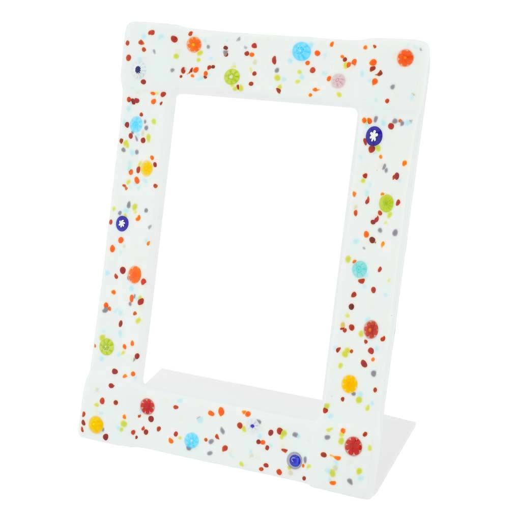 Murano Glass Photo Frame Pantalon 4X6 Inch - White