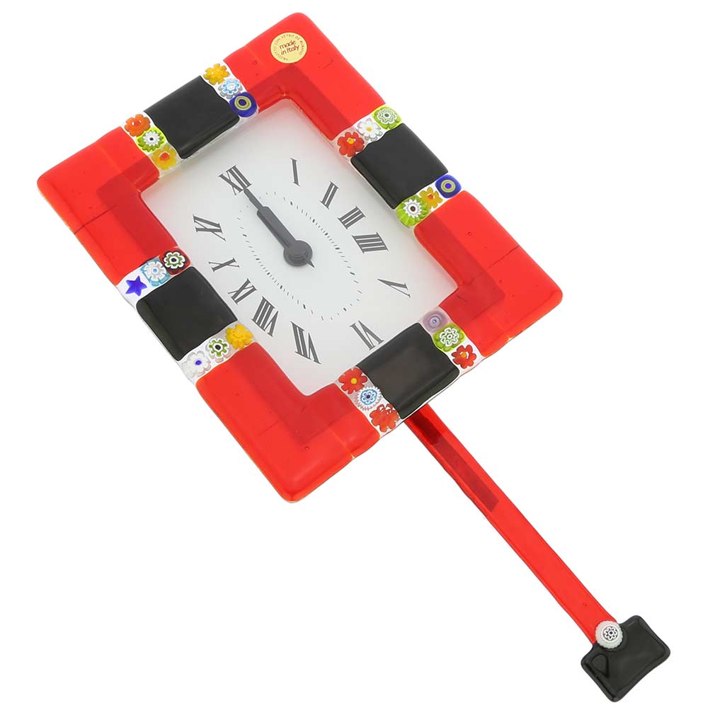 Murano Glass Wall Clock Tiepolo Fire Red