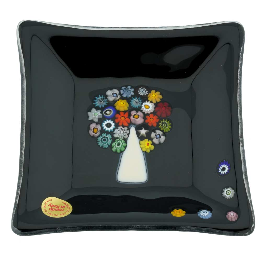 Murano Glass Square Decorative Plate - Tree Of Life
