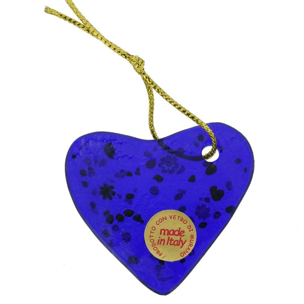 Murano Glass Heart Christmas Ornament - Blue