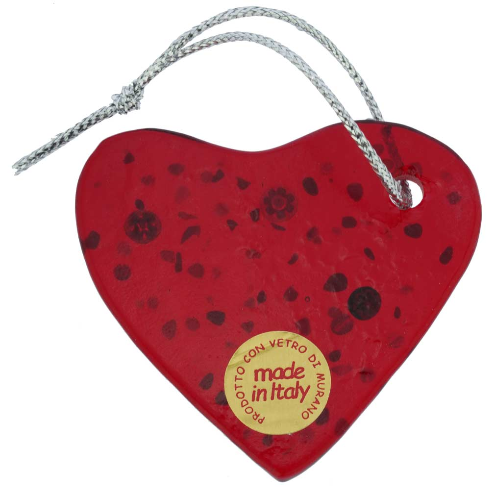 Murano Glass Heart Christmas Ornament - Red