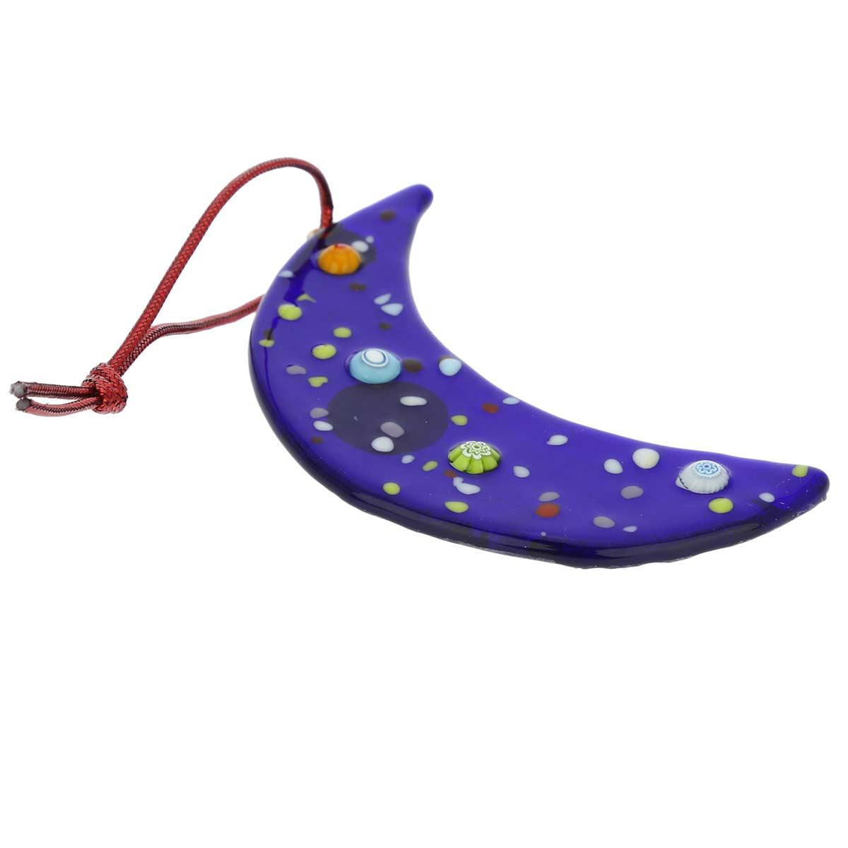 Murano Glass Moon Christmas Ornament - Blue