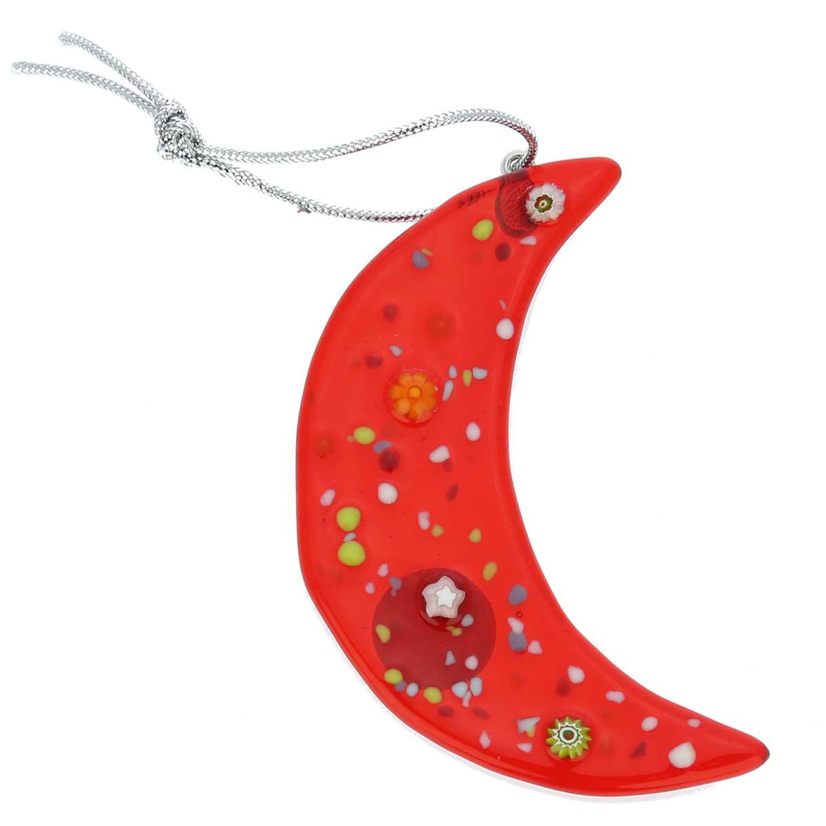 Murano Glass Moon Christmas Ornament - Red