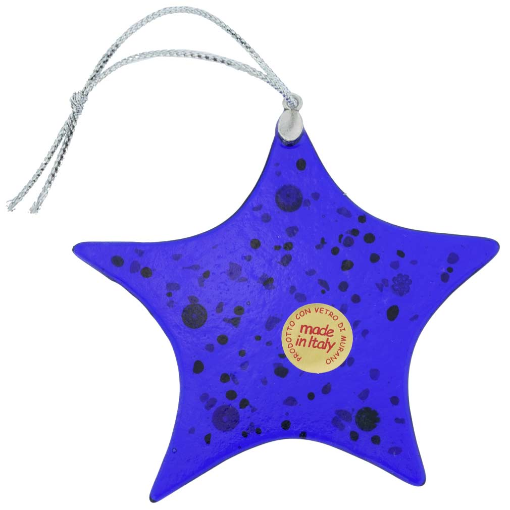 Murano Glass Star Christmas Ornament - Blue