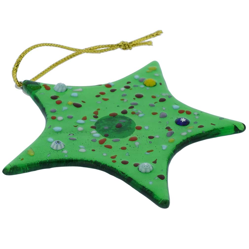 Murano Glass Star Christmas Ornament - Green