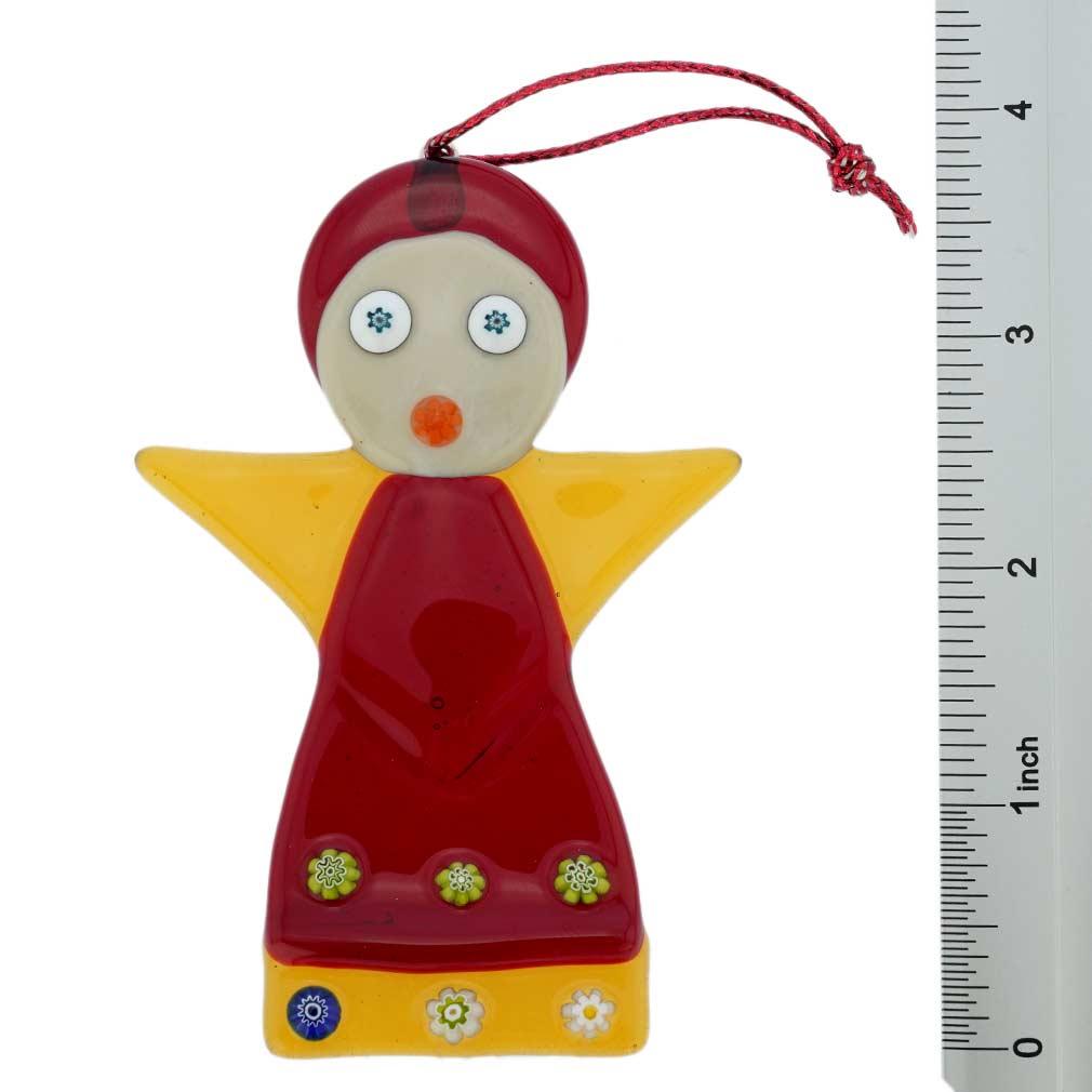 Murano Glass Angel Christmas Ornament - Red